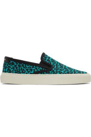 Saint Laurent Blue & Black Leopard Venice Slip-On Sneakers
