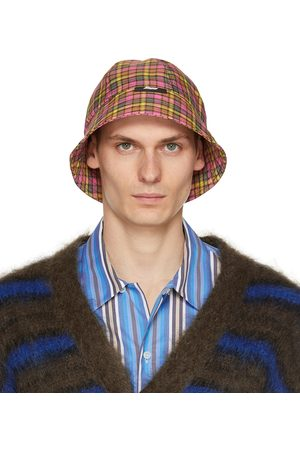 Msgm Yellow & Pink Check Print Cloche Bucket Hat