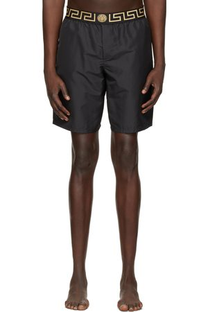 VERSACE Black Long Greca Border Swim Shorts
