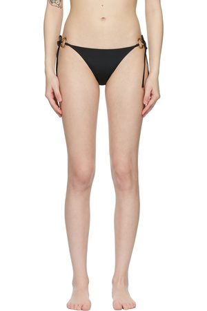 VERSACE Black Ring-Hardware Bikini Bottom