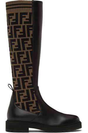 Fendi Brown & Black 'Forever ' Rockoko Tall Boots