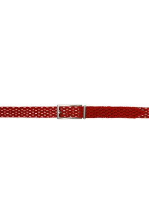 Bottega Veneta Red Macramé Belt