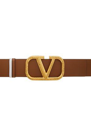 VALENTINO GARAVANI Reversible Brown & White VLogo Belt