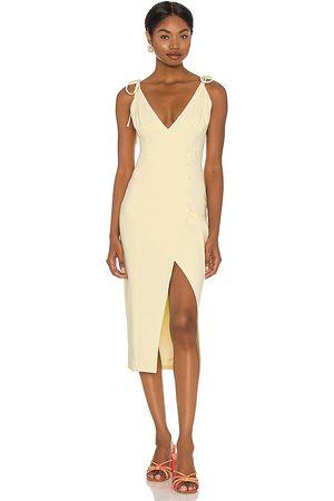 Camila Coelho Aaliyah Midi Dress in - Yellow. Size L (also in XXS, XS, S, M, XL).