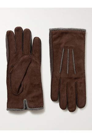 Loro Piana Damon Baby Cashmere-Lined Suede Gloves