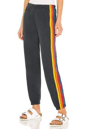 Aviator Nation 5 Stripe Sweatpant in - Black. Size L (also in XS, S, M).