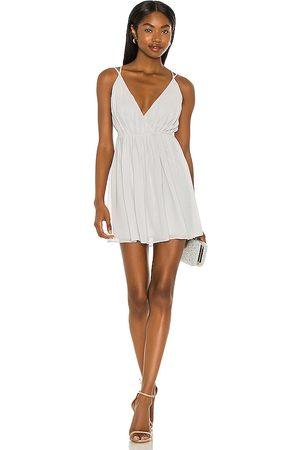 Michael Costello Donna Vestiti estivi - X REVOLE Etta Mini Wrap Dress in - Light Grey,Slate. Size L (also in XXS, XS, S, M, XL).