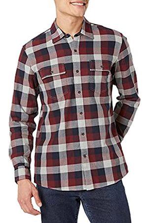 Goodthreads Uomo Casual - Standard-Fit Long-Sleeve Plaid Herringbone Shirt Camicia Che Si abbottona, Navy Eclipse, M Tall