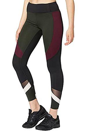AURIQUE Marchio Amazon - Leggings Sportivi a Vita Alta Colour Block Donna, Verde , 48, Label:XL