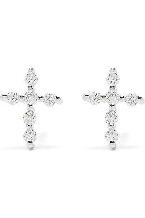 DJULA Uomo Orecchini - Orecchini Big Cross in oro bianco 18kt con diamanti