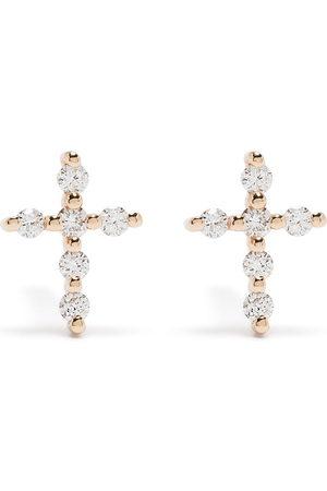 DJULA Uomo Orecchini - Orecchini Big Cross in oro 18kt con diamanti