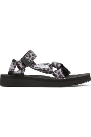 Wacko Maria Uomo Sandali - Grey & Black Suicoke Edition Leopard Beach Sandals