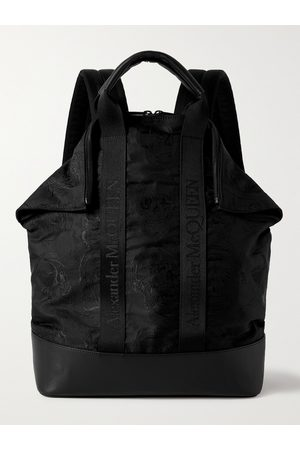 Alexander McQueen Uomo Portafogli e portamonete - Leather and Logo Webbing-Trimmed Embroidered Nylon Backpack