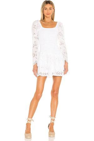 LOVESHACKFANCY Cedria Dress in - White. Size L (also in S, XS, M, XL).