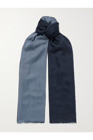 Loro Piana Uomo Sciarpe - Fringed Colour-Block Cashmere and Silk-Blend Scarf