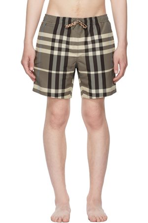 Burberry Beige & Brown Check Drawstring Swim Shorts