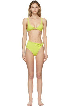 The Attico Green Asymmetric Bikini