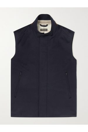 Loro Piana Suede-Trimmed Brushed-Cashmere Gilet