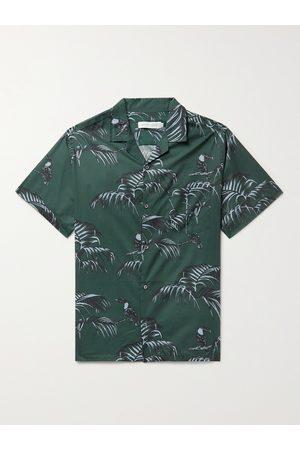 Desmond & Dempsey Uomo Pigiami - Cuban Camp-Collar Printed Cotton Pyjama Shirt