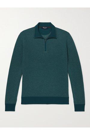 Loro Piana Striped Cashmere Half-Zip Sweater