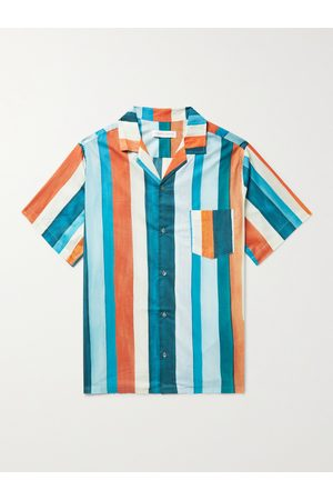 Desmond & Dempsey Uomo Pigiami - Cuban Camp-Collar Striped Cotton Pyjama Shirt