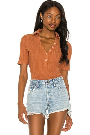House of Harlow X Sofia Richie Inaya Bodysuit in - Rust. Size L (also in XS, S, M, XL).