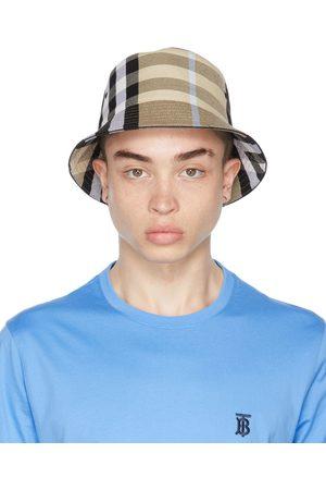 Burberry Uomo Cappelli - Beige Cotton Check Bucket Hat