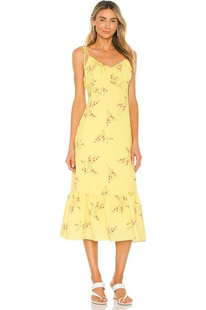 LINE & DOT Hailey Floral Print Midi Dress in - Yellow. Size L (also in XS, S, M).