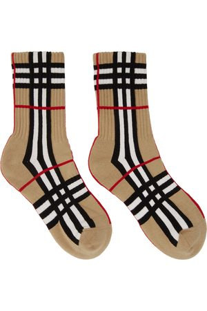 Burberry Uomo Calze - Beige Intarsia Check Technical Stretch Socks