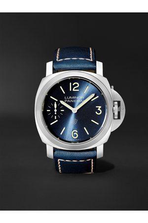 PANERAI Uomo Orologi - Luminor Blu Mare Hand-Wound 44mm Stainless Steel and Leather Watch, Ref. No. PAM1085