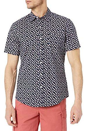 Amazon Camicia a Maniche Corte con Stampa Slim Fit Athletic-Shirts, Navy/Conchiglie , S