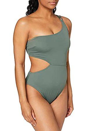 IRIS & LILLY Marchio Amazon - Costume da Bagno con Cut out Donna, Verde , S, Label: S