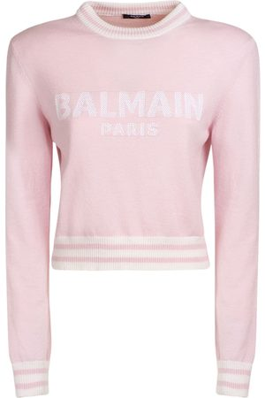 Balmain Maglia Cropped In Misto Lana Con Logo