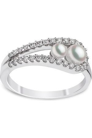 Yoko London Donna Anelli - Anello Ikonik in oro bianco 18kt con perle Akoya e diamanti