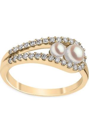 Yoko London Anello Sleek in 18kt con diamanti e perle Akoya
