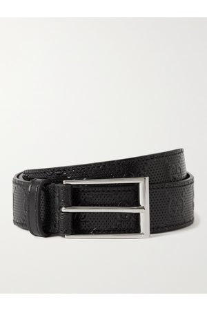 Gucci Uomo Cinture - 3cm Logo-Embossed Perforated Leather Belt