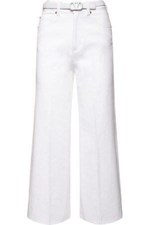 VALENTINO Donna Jeans - Jeans Cropped In Denim Di Cotone Con Cintura