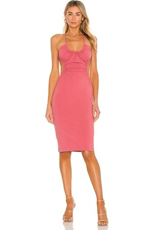 Michael Costello X REVOLVE Mabel Ruched Midi Dress in - Pink. Size L (also in XXS, XS, S, M, XL).