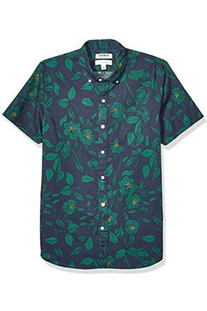 Goodthreads Uomo Casual - Slim-Fit Short-Sleeve Printed Poplin Shirt Camicia Che Si abbottona, Black Line Floral, XXL Tall