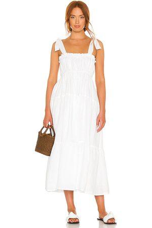 FAITHFULL THE BRAND Bellamy Midi Dress in - White. Size L (also in XS, S, M, XL).
