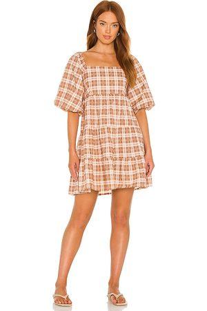 FAITHFULL THE BRAND Eryn Mini Dress in - Brown. Size L (also in XS, S, M, XL).