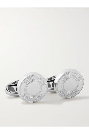 Burberry Uomo Gemelli - Logo-Engraved Palladium-Plated Cufflinks