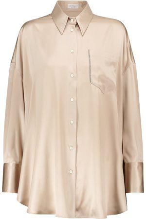 Brunello Cucinelli Camicia in raso di seta stretch