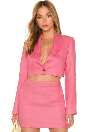 Amanda Uprichard Donna Blazer - X REVOLVE Linen Pembroke Blazer in - Pink. Size L (also in XS, S, M).