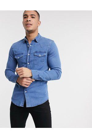 ASOS Camicia di jeans skinny lavaggio medio stile western