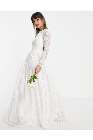 ASOS Odette - Vestito da sposa a maniche lunghe in pizzo aperto sul retro