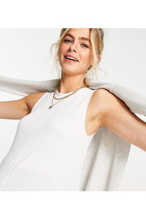 ASOS Donna Tank top - ASOS DESIGN Maternity - Canotta svasata lunga e oversize bianca