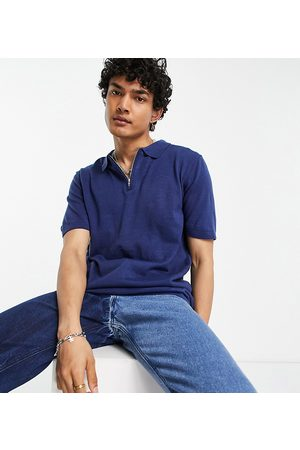 Reclaimed Inspired - Polo in maglia blu navy a maniche corte con zip corta