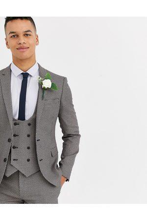 ASOS Wedding - Giacca da abito super skinny micro testurizzata grigia