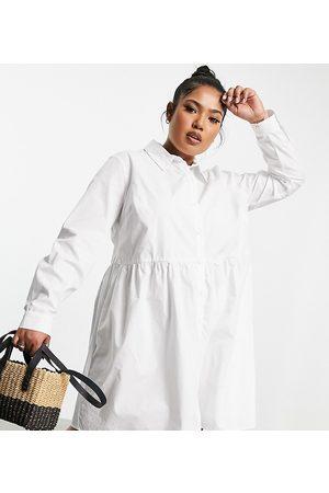 ASOS ASOS DESIGN Curve - Vestito camicia stile grembiule corto in cotone